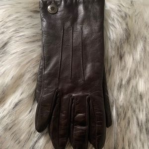 Coach chocolate brown leather and cashmere gloves
